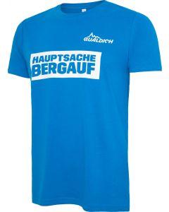 hauptsache bergauf T-Shirt quaeldich.de hellblau